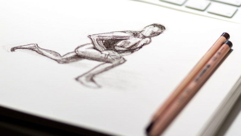 Tegning af mand der træner